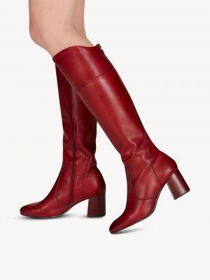 Красные кожаные сапоги Tamaris