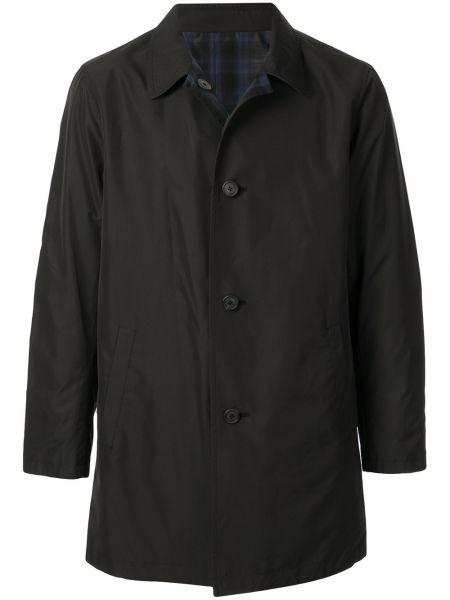 Klasyczna czarna długa kurtka z długimi rękawami Kent & Curwen