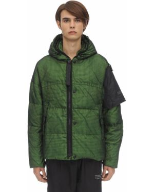 Zielona kurtka z kapturem z nylonu Nemen