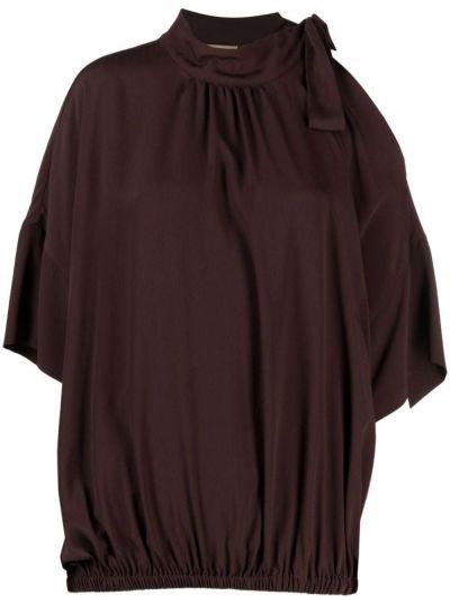 Brązowa bluzka z jedwabiu Semicouture