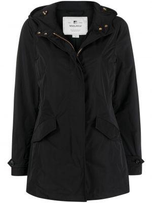 Черное длинное пальто с длинными рукавами Woolrich