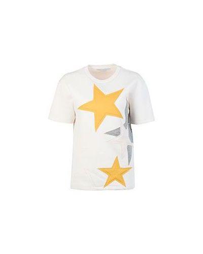 Бежевая футболка хлопковая Stella Mccartney