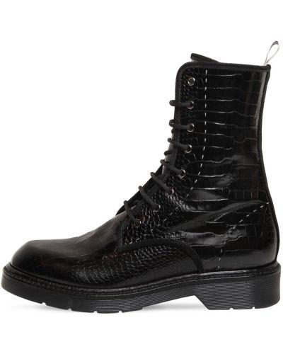 Ажурные сапоги без каблука из крокодила на шнуровке на каблуке Max Mara