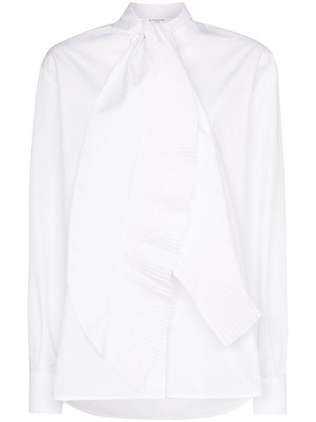 Bluzka z długim rękawem biała z popeliny Givenchy