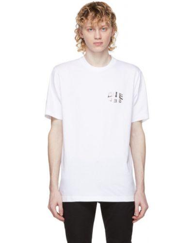 Трикотажная белая футболка с воротником Diesel