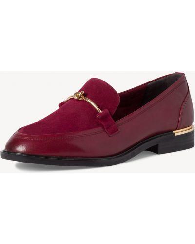 Бордовые кожаные туфли Tamaris