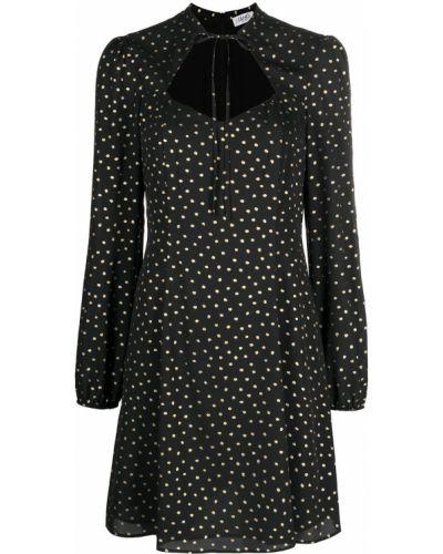 Czarna sukienka mini w grochy z długimi rękawami Liu Jo
