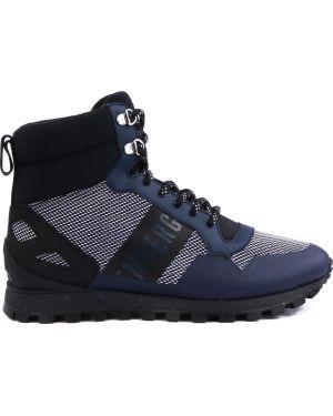 Синие комбинированные текстильные кроссовки на шнуровке Dirk Bikkembergs