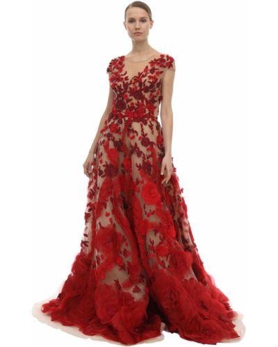 Шелковое платье - красное Marchesa