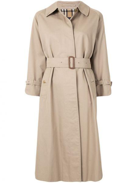 Прямое пальто классическое с поясом с воротником с рукавом реглан Burberry Pre-owned