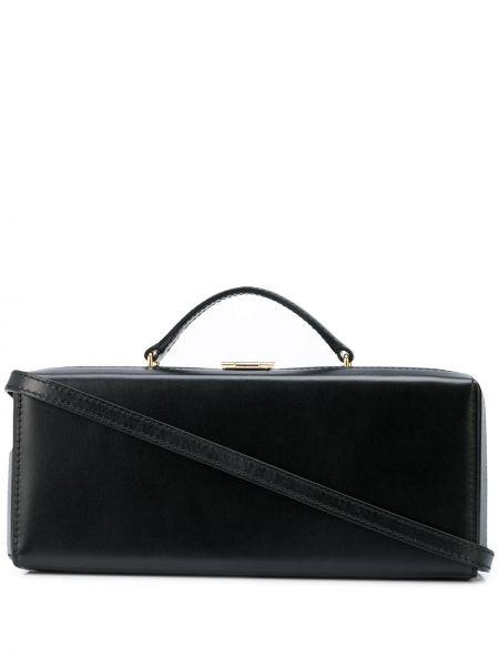 Кожаная золотистая черная маленькая сумка Mark Cross