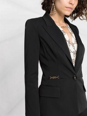 Однобортный черный удлиненный пиджак с карманами Elisabetta Franchi