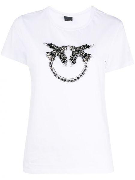Хлопковая белая прямая футболка с круглым вырезом Pinko