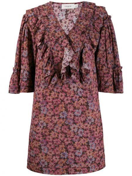 Платье розовое с цветочным принтом Coach