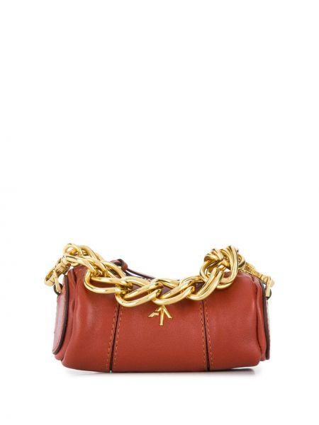 Золотистая красная маленькая сумка металлическая на молнии Manu Atelier