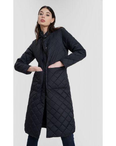 Черное пальто с воротником на молнии Ostin