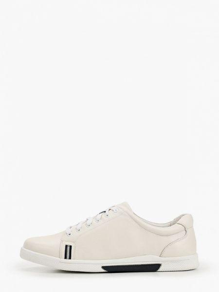 Бежевые кожаные кроссовки Pierre Cardin