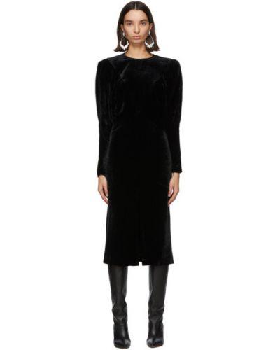 Jedwab czarny długo sukienka z kołnierzem z mankietami Isabel Marant