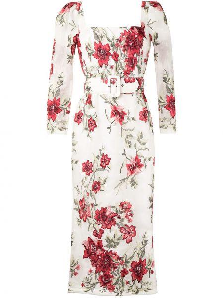 Шелковое с рукавами белое платье миди Marchesa