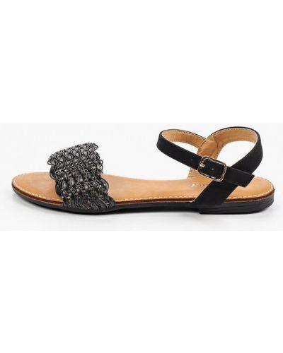 Черные кожаные сандалии Exquily