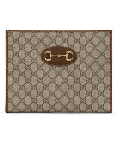 Brezentowy brązowy skórzana torba z łatami prążkowany Gucci
