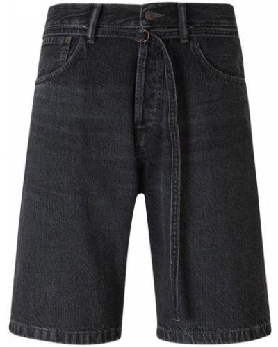 Czarne szorty jeansowe z paskiem bawełniane Acne Studios