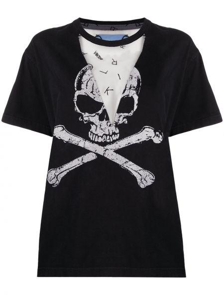Свободная черная футболка свободного кроя сетчатая Viktor & Rolf