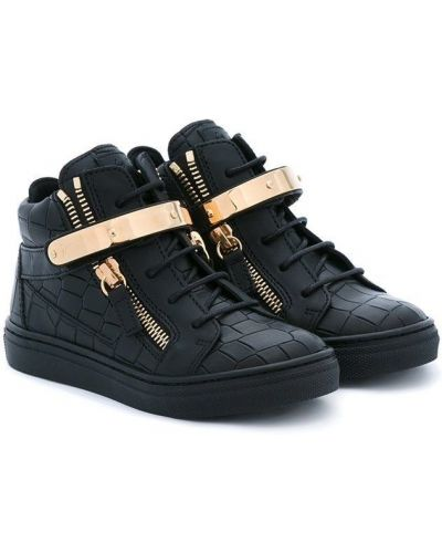 Золотистые черные хайтопы из крокодила на шнуровке Giuseppe Junior