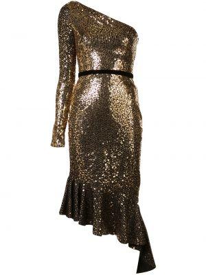 Платье с поясом с оборками с рукавами Marchesa Notte