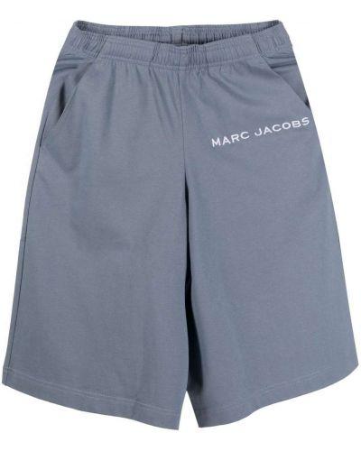 Синие хлопковые шорты с карманами с вышивкой Marc Jacobs