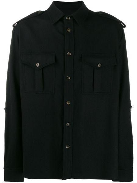 Klasyczna czarna klasyczna koszula z długimi rękawami Ih Nom Uh Nit