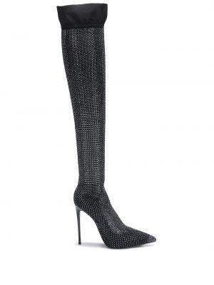 Приталенные черные сапоги на шпильке на каблуке с острым носом Le Silla
