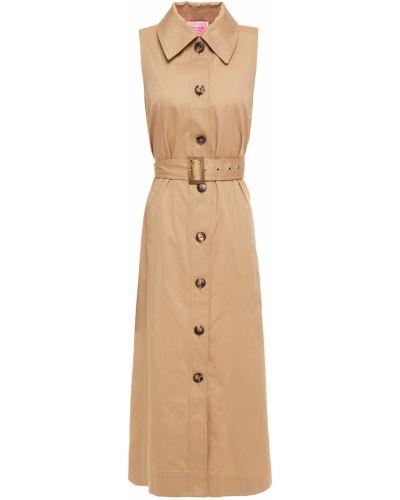 Хлопковое платье миди - бежевое Kate Spade New York