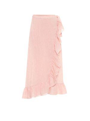Мягкая розовая льняная юбка миди Lisa Marie Fernandez