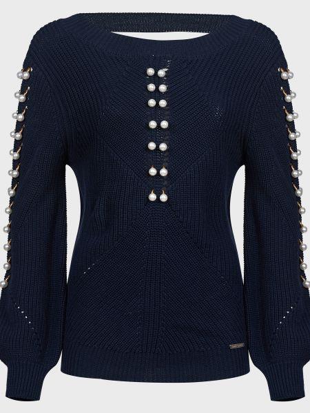 Синий хлопковый свитер с камнями Frankie Morello