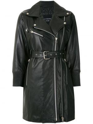 Черная куртка с запахом на молнии в рубчик à La Garçonne
