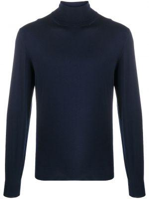 С рукавами кашемировый синий свитер в рубчик Dell'oglio