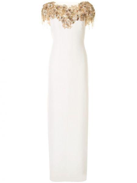 С рукавами белое платье прозрачное Marchesa