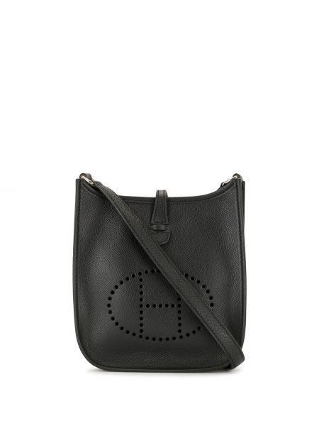 Черная кожаная сумка на плечо с перфорацией Hermes