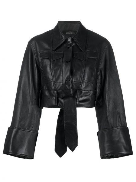 Czarna koszula z długimi rękawami skórzana Rokh