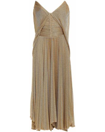 Кружевное платье миди - золотое Maria Lucia Hohan