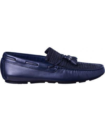 Синие мокасины кожаные Roberto Cavalli