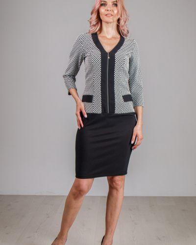 С рукавами прямое приталенное платье с V-образным вырезом Lila Classic Style