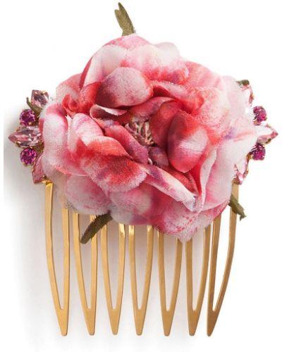 Jedwab koronkowa spinka do włosów złoto Dolce And Gabbana