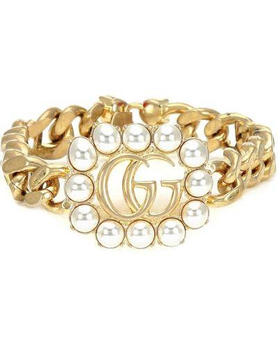 Bezpłatne cięcie bransoletka złoto z perłami bezpłatne cięcie Gucci