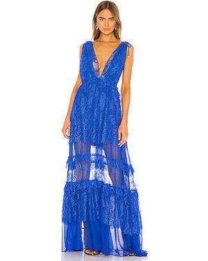 Синее шелковое вечернее платье на бретелях с подкладкой Alexis