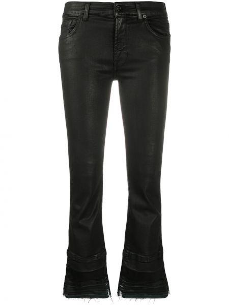Хлопковые черные джинсы-скинни с низкой посадкой 7 For All Mankind