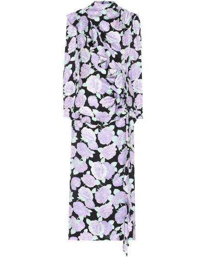 Шелковое платье миди - фиолетовое Miu Miu