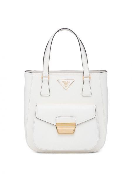 Biała torebka skórzana Prada
