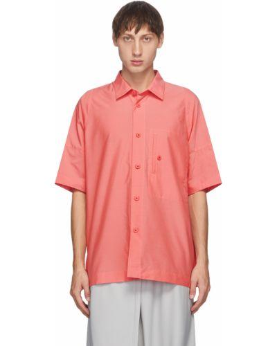 Różowa koszula bawełniana krótki rękaw 132 5. Issey Miyake